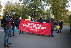 London, UK. 31 October, 2019. Petros Elia, co-founder of the United Voices of the World (UVW) trade union, addresses low-paid migrant Royal Parks attendants and cleaners outsourced via Vinci and belonging to UVW during a coordinated series of 'five strikes in one day' involving also cleaners from the Ministry of Justice, University of Greenwich café workers, cleaners, porters and caterers from St Mary's Hospital Paddington and cleaners from the Channel 4 and ITV offices in Gray's Inn Road. The Royal Parks attendants and cleaners are seeking a pay rise from £8.21ph to the London Living Wage of £10.55 ph, occupational sick pay and statutory holiday.