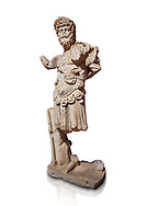 Roman statue of Emperor Septimus Severus. Marble. Perge. 2nd century AD. Inv no 3266 . Antalya Archaeology Museum; Turkey. Against a white background. .<br /> <br /> If you prefer to buy from our ALAMY STOCK LIBRARY page at https://www.alamy.com/portfolio/paul-williams-funkystock/greco-roman-sculptures.html . Type -    Antalya     - into LOWER SEARCH WITHIN GALLERY box - Refine search by adding a subject, place, background colour, museum etc.<br /> <br /> Visit our ROMAN WORLD PHOTO COLLECTIONS for more photos to download or buy as wall art prints https://funkystock.photoshelter.com/gallery-collection/The-Romans-Art-Artefacts-Antiquities-Historic-Sites-Pictures-Images/C0000r2uLJJo9_s0