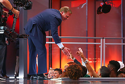 April 26, 2018 - Arlington, TX, U.S. - ARLINGTON, TX - APRIL 26:  NFL Commissioner Roger Goodell high fives fans during the first round of the 2018 NFL Draft at AT&T Statium on April 26, 2018 at AT&T Stadium in Arlington Texas.  (Photo by Rich Graessle/Icon Sportswire) (Credit Image: © Rich Graessle/Icon SMI via ZUMA Press)