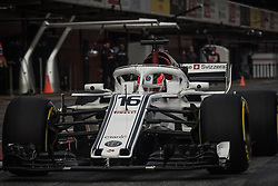 March 1, 2018 - Barcelona, Catalonia, Spain - CHARLES LECLERC (MON) in his Alfa Romeo Sauber C37 at the pit stop at day four of Formula One testing at Circuit de Catalunya. (Credit Image: © Matthias Oesterle via ZUMA Wire)