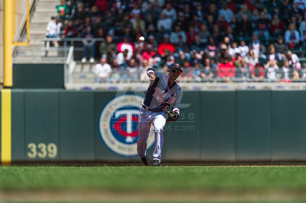 Eduardo Escobar #5 of the Minnesota Twins makes a throw to 1st base against the Baltimore Orioles on May 12, 2013 at Target Field in Minneapolis, Minnesota.  The Orioles defeated the Twins 6 to 0.  Photo: Ben Krause