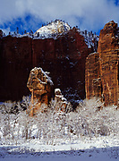 The Pulpit in the Temple of Sinawava with January snow, Zion Canyon, Zion National Park, Utah.