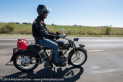 Hans Coertse of South Africa riding his 976c twin cylinder 1913 Matchless Model 5B Motorcycle through the eastern plains of Colorado during the Motorcycle Cannonball Race of the Century. Stage-9 Dodge City, KS to Pueblo, CO. USA. Monday September 19, 2016. Photography ©2016 Michael Lichter