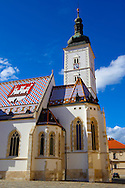 Late Gothic church of St. Mark's Church (Crkva sv. Marka) , Zagreb, Croatia .<br /> <br /> Visit our MEDIEVAL PHOTO COLLECTIONS for more   photos  to download or buy as prints https://funkystock.photoshelter.com/gallery-collection/Medieval-Middle-Ages-Historic-Places-Arcaeological-Sites-Pictures-Images-of/C0000B5ZA54_WD0s .<br /> <br /> Visit our CROATIA HISTORIC SITES PHOTO COLLECTIONS for more photos to download or buy as wall art prints https://funkystock.photoshelter.com/gallery-collection/Pictures-Images-of-Croatia-Photos-of-Croatian-Historic-Landmark-Sites/C0000cY_V8uDo_ls