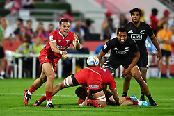 Jay Jones of Wales in action<br /> <br /> Photographer Craig Thomas/Replay Images<br /> <br /> World Rugby HSBC World Sevens Series - Day 1 - Thursday 5rd December 2019 - Sevens Stadium - Dubai<br /> <br /> World Copyright © Replay Images . All rights reserved. info@replayimages.co.uk - http://replayimages.co.uk