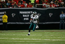 Philadelphia Eagles wide receiver Jeremy Maclin #18 returns a kickoff during the NFL game between the Philadelphia Eagles and the Atlanta Falcons on December 6th 2009. The Eagles won 34-7 at The Georgia Dome in Atlanta, Georgia. (Photo By Brian Garfinkel)