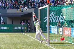 October 21, 2018 - Portland, OR, U.S. - PORTLAND, OR - OCTOBER 21, 2018: Portland Timbers goal keeper Steve Clark makes a save during the Portland Timbers 3-0 victory over Real Salt lake on October 21, 2018, at Providence Park in Portland, Oregon. (Photo by Diego Diaz/Icon Sportswire) (Credit Image: © Diego Diaz/Icon SMI via ZUMA Press)