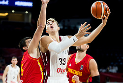 Filip Barovic of Montenegro vs Martins Meiers of Latvia during basketball match between National Teams of Latvia and Montenegro at Day 11 in Round of 16 of the FIBA EuroBasket 2017 at Sinan Erdem Dome in Istanbul, Turkey on September 10, 2017. Photo by Vid Ponikvar / Sportida