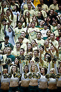 SHOT 2/23/10 9:17:30 PM - Colorado State cheerleaders and fans get behind their team against a nationally-ranked New Mexico team during the first half of their regular season Mountain West Conference game at Moby Arena in Fort Collins, Co. New Mexico survived a tight game winning 72-66. (Photo by Marc Piscotty / © 2010)