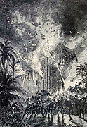 """A destructive fire from The Begum's Fortune (French: Les Cinq cents millions de la Bégum, literally """"the 500 millions of the begum""""), also published as The Begum's Millions, is an 1879 novel by Jules Verne, with some utopian elements and other elements that seem clearly dystopian. It is noteworthy as the first published book in which Verne was cautionary, and somewhat pessimistic about the development of science and technology.. Translated by W.H.G. Kingston in 1860 Published in Philadelphia by J. B. Lippincott and Co."""