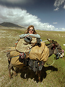 After washing socks, Donkey G's rope is used as a laundry line. Winter camp of Mulk Ali, past Chaqmaqtin Lake.<br /> <br /> Adventure through the Afghan Pamir mountains, among the Afghan Kyrgyz and into Pakistan's Karakoram mountains. July/August 2005. Afghanistan / Pakistan.