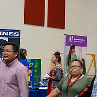 Students and career vendors filled the Wellness Center at the NTU campus for the Career Fair in Crownpoint on Thursday.