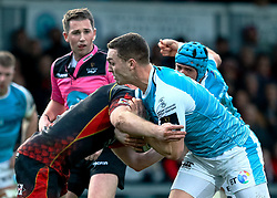George North of Ospreys under pressure from Aaron Wainwright of Dragons<br /> <br /> Photographer Simon King/Replay Images<br /> <br /> Guinness PRO14 Round 12 - Dragons v Ospreys - Sunday 30th December 2018 - Rodney Parade - Newport<br /> <br /> World Copyright © Replay Images . All rights reserved. info@replayimages.co.uk - http://replayimages.co.uk