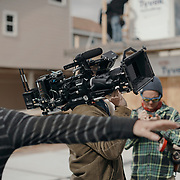 The crew preps prior to filming a scene during a production day for the HGTV show, Brother vs Brother, Wednesday, February 15, 2017 in Galveston, Texas. Season five of the show which features The Property Brothers, Jonathan and Drew Scott, airs later this year.<br /> <br /> Todd Spoth for The New York Times.