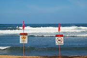Warning signs, Haleiwa, Oahu, Hawaii