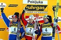 Skiskyting<br /> Verdenscup<br /> Pukljoka Slovenia<br /> 10.01.2004<br /> Foto: Digitalsport<br /> Norway Only<br /> <br /> Ole Einar Bjørndalen (NOR)<br /> Nikolai Krouglov (RUS), Sergei Tchepikov (RUS).
