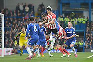 Jose Fonte, the Southampton captain misses a header from a cross. Barclays Premier league match, Chelsea v Southampton at Stamford Bridge in London on Sunday 15th March 2015.<br /> pic by John Patrick Fletcher, Andrew Orchard sports photography.