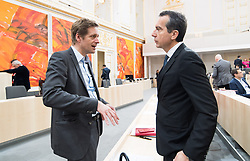 17.04.2018, Hofburg, Wien, AUT, Parlament, Sitzung des Nationalrates mit Generaldebatte über das Doppelbudget 2018 und 2019, im Bild Nationalratsabgeordneter SPÖ Kai Jan Krainer und SPÖ-Klubobmann Christian Kern // Member of the National Council SPOe Kai Jan Krainer and Party whip of the Austrian Social Democratic Party Christian Kern during meeting of the National Council of Austria regarding on federal budget for 2018 and 2019 at Hofburg palace in Vienna, Austria on 2018/04/17, EXPA Pictures © 2018, PhotoCredit: EXPA/ Michael Gruber