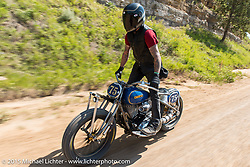 Roland Sands tears it up with his new custom Geico Indian Chief on a dirt road during 75th Annual Sturgis Black Hills Motorcycle Rally.  SD, USA.  August 3, 2015.  Photography ©2015 Michael Lichter.