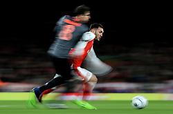 7 March 2017 - UEFA Champions League - (Round of 16) - Arsenal v Bayern Munich - Lucas of Arsenal in action with Javi Martinez of Bayern Munich - Photo: Marc Atkins / Offside.