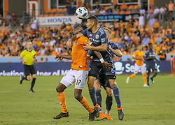 May 25, 2018 - Houston, TX, U.S. - HOUSTON, TX - MAY 25:  Houston Dynamo forward Alberth Elis (17) and New York City defender Alexander Callens (6) fight for a header during the MLS match between the New York FC and Houston Dynamo on May 25, 2018 at BBVA Compass Stadium in Houston, Texas.  (Photo by Leslie Plaza Johnson/Icon Sportswire) (Credit Image: © Leslie Plaza Johnson/Icon SMI via ZUMA Press)