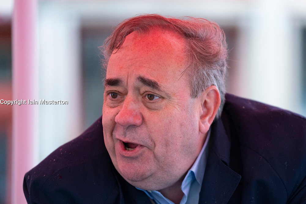 Edinburgh, Scotland, UK. 3  May 2021. Leader of Alba party Alex Salmond makes campaign appearance to meet journalists and media in Edinburgh Old Town today.  Iain Masterton/Alamy Live News