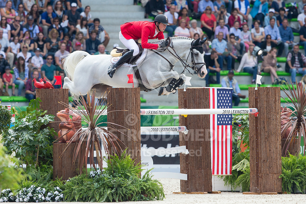 Daniel Deusser, (GER), Cornet D Amour - First Round Team Competition Jumping Speed - Alltech FEI World Equestrian Games™ 2014 - Normandy, France.<br /> © Hippo Foto Team - Leanjo De Koster<br /> 03-09-14