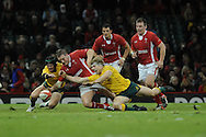 Gethin Jenkins of Wales © dives for a loose ball between Australia's Berrick Barnes (l) and David Pocock ® . Dove Men, autumn international test, Wales v Australia at the Millennium Stadium in Cardiff on Sat 1st Dec 2012. pic by Andrew Orchard, Andrew Orchard sports photography,