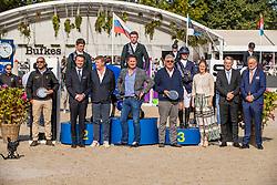 Podium 5 years old horsers, Foley Jason, Pender Michael, IRL, Stoker Emma, GBR<br /> FEI WBFSH Jumping World Breeding Championship for Young Horses<br /> Lanaken 2019<br /> © Hippo Foto - Dirk Caremans<br />  22/09/2019
