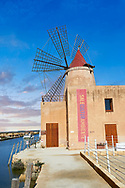 Pictures & images of the Mulino d'Infersa (mill of Infersa) wind mill, Ettore saltworks,  Saline della Laguna, Masala, Sicily. .<br /> <br /> Visit our SICILY PHOTO COLLECTIONS for more   photos  to download or buy as prints https://funkystock.photoshelter.com/gallery-collection/2b-Pictures-Images-of-Sicily-Photos-of-Sicilian-Historic-Landmark-Sites/C0000qAkj8TXCzro<br /> If you prefer to buy from our ALAMY PHOTO LIBRARY  Collection visit : https://www.alamy.com/portfolio/paul-williams-funkystock/trapanimaslalasaltpans.html .<br /> <br /> Visit our SICILY HISTORIC PLACES PHOTO COLLECTIONS for more   photos  to download or buy as prints https://funkystock.photoshelter.com/gallery-collection/2b-Pictures-Images-of-Sicily-Photos-of-Sicilian-Historic-Landmark-Sites/C0000qAkj8TXCzro<br /> .<br /> <br /> Visit our EARLY MODERN ERA HISTORICAL PLACES PHOTO COLLECTIONS for more photos to buy as wall art prints https://funkystock.photoshelter.com/gallery-collection/Modern-Era-Historic-Places-Art-Artefact-Antiquities-Picture-Images-of/C00002pOjgcLacqI