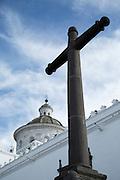 Cross in front of La Merced Church and Cloister, Quito, Pichincha Province, Ecuador, South America