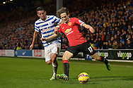 Daley Blind of Manchester United and Mauricio Isla of QPR compete for the ball.Barclays Premier league match, Queens Park Rangers v Manchester Utd at Loftus Road in London on Saturday 17th Jan 2015. pic by John Patrick Fletcher, Andrew Orchard sports photography.