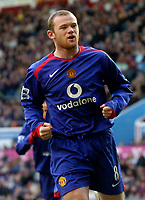 Photo: Glyn Thomas.<br />Aston Villa v Manchester United. The Barclays Premiership.<br />17/12/2005.<br />Manchester United's Wayne Rooney celebrates after scoring his team's second goal.