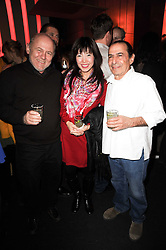 Left to right, MARK MILLER, AKEMI FUKUMOTO and RON COOPER at a party to celebrate the publication of Mexican Food Made Simple by Thomasina Miers held at Wahaca, Westfield Shopping Centre, London on 2nd February 2010.