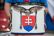Slovakia fans drums during the FIFA World Cup Qualifier match between England and Slovakia at Wembley Stadium, London, England on 4 September 2017. Photo by Sebastian Frej.