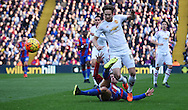 Yohan Cabaye challenges Daley Blind during the Barclays Premier League match between Crystal Palace and Manchester United at Selhurst Park, London, England on 31 October 2015. Photo by Michael Hulf.