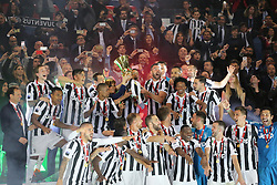 May 9, 2018 - Rome, Lazio, Italy - Claudio Marchisio (Juventus FC) of Juventus FC lifts the Italian Cup trophy after the final match between Juventus FC and SS Lazio at the Stadio Olimpico on May 09, 2017 in Rome, Italy.  Juventus won 4-0 over Milan. (Credit Image: © Massimiliano Ferraro/NurPhoto via ZUMA Press)