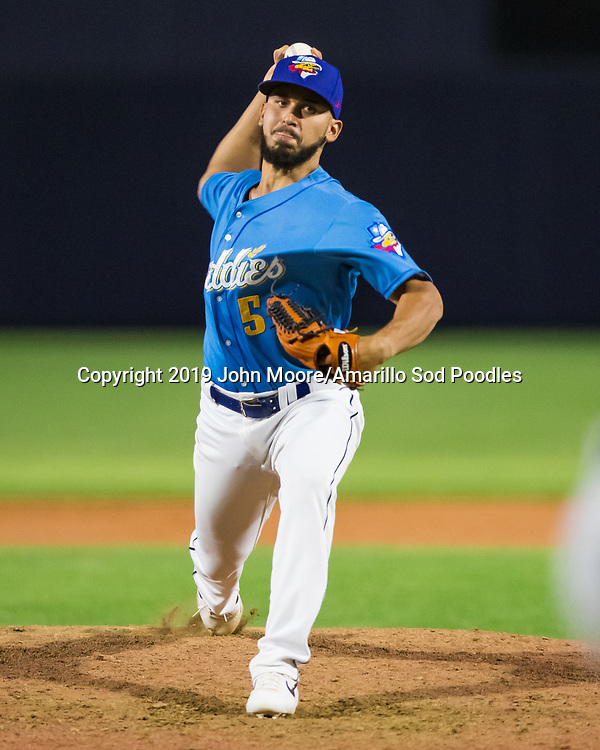 Amarillo Sod Poodles pitcher Javy Guerra (5) pitches against the Arkansas Travelers on Friday, Aug. 30, 2019, at HODGETOWN in Amarillo, Texas. [Photo by John Moore/Amarillo Sod Poodles]