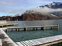 Winter, lake, mountain, view, jetty, St Gilgen, Salzburg, Austria, snow, 2000121307.<br /> <br /> Copyright Image from Victor Patterson, Belfast, UK<br /> <br /> t: +44 28 9066 1296 (from Rep of Ireland 048 9066 1296)<br /> m: +44 7802 353836<br /> <br /> victorpattersonbelfast@gmail.com<br /> www.images4media.com<br /> <br /> Please see my Terms and Conditions of Use at https://www.images4media.com/p/terms-conditions  It is IMPORTANT that you familiarise yourself with them.<br /> <br /> Images used on the Internet incur an additional cost and must be visibly watermarked i.e. © Victor Patterson within the body of the image and copyright metadata must not be deleted. Images used on the Internet have a size restriction of 4 kbs and are chargeable at rates available at victorpatterson.com.<br /> <br /> This image is only available for the use of the download recipient i.e. television station, newspaper, magazine, book publisher, etc, and must not be passed on to any third party. It is also downloaded on condition that each and every usage is notified within 7 days to victorpattersonbelfast@gmail.com<br /> <br /> The right of Victor Patterson to be identified as the author is asserted in accordance with The Copyright Designs And Patents Act (1988). All moral rights are asserted.