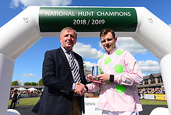 Presentation 2018-2019 National Hunt Awards Minister Michael Creed presents Paul Townend during day five of the Punchestown Festival at Punchestown Racecourse, County Kildare, Ireland.