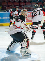 KELOWNA, CANADA, DECEMBER 3: Drew Owsley #30 of the Prince George Cougars warms up as the Prince George Cougars visit the Kelowna Rockets  on December 3, 2011 at Prospera Place in Kelowna, British Columbia, Canada (Photo by Marissa Baecker/Shoot the Breeze) *** Local Caption ***