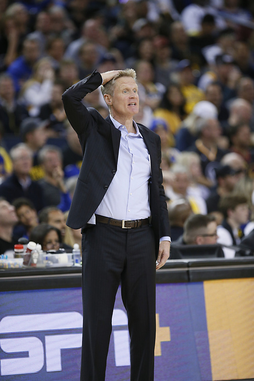 Golden State Warriors head coach Steve Kerr in the second half of an NBA game against the Los Angeles Lakers at Oracle Arena on Saturday, Feb. 2, 2019, in Oakland, Calif. The Warriors won 115-101.