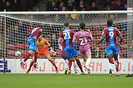 GOAL Luke Novak scores the opener 0-1 during the EFL Sky Bet League 1 match between Scunthorpe United and Rochdale at Glanford Park, Scunthorpe, England on 8 September 2018.