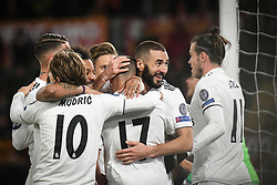 November 27, 2018 - Rome, Italy - Lucas Vazquez (#17) with his teammates of Real Madrid celebrates after scoring the team's second goal of AS Roma  during the Champions league football match between AS Roma  and Real Madrid at Olimpico stadium in Rome, Italy, on November 27, 2018. (Credit Image: © Federica Roselli/NurPhoto via ZUMA Press)