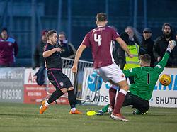 Arbroath's Ryan Wallace (9) scoring their third goal. Stenhousemuir 1 v 4 Arbroath, Scottish Football League Division One play12/1/2019 at Ochilview Park.