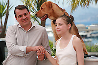 Director Kornel Mundruczo, Hagen the dog and actress Zsofia Psotta at the photo call for the film White God (Feher Isten) at the 67th Cannes Film Festival, Saturday 17th May 2014, Cannes, France.