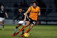 Dan Sweeney of Barnet ® in action with Matt Green of Lincoln City (l). EFL Skybet Football League two match, Barnet v Lincoln City at the Hive in London on Saturday 20th January 2018. <br /> pic by Steffan Bowen, Andrew Orchard sports photography.