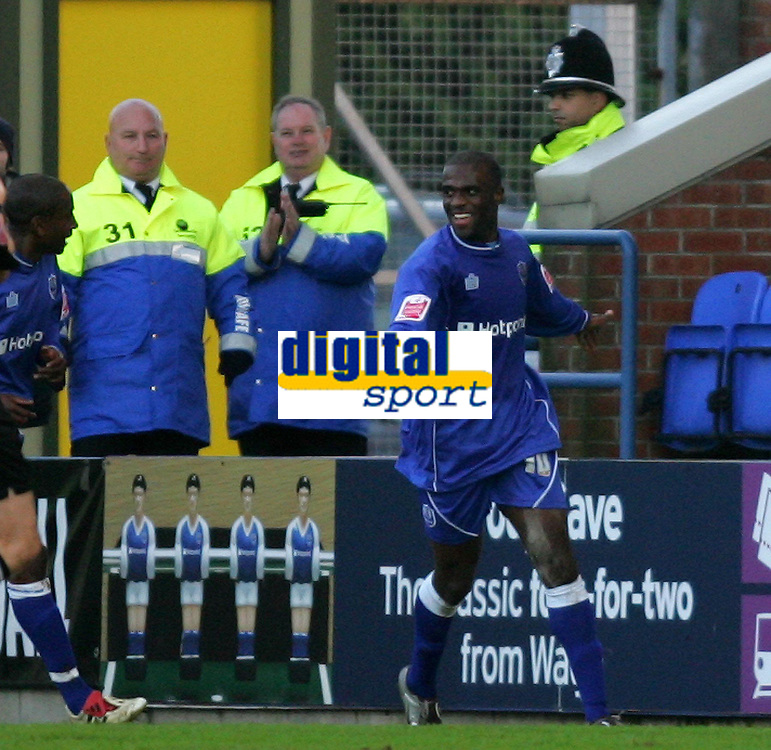 Photo: Frances Leader.<br />Peterborough Utd v Leyton Orient. Coca Cola League 2.<br />12/11/2005.<br />Borough's Calum Willock celebrates his goal against Orient in the first half.