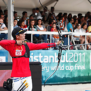 DAI Xiaoxiang (CHN) competes in Archery World Cup Final in Istanbul, Turkey, Sunday, September 25, 2011. Photo by TURKPIX