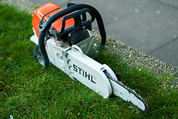 Specially adapted chainsaw used by South Yorkshire Police Officers Execute Warrants in Eastwood Rotherham and sheffield on Tuesday Morning<br /> <br /> 04 March 2014<br /> Image © Paul David Drabble <br /> <br /> www.pauldaviddrabble.co.uk